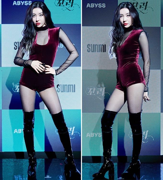 '꼬리' 쇼케이스에 참석한 가수 선미/사진제공=어비스컴퍼니