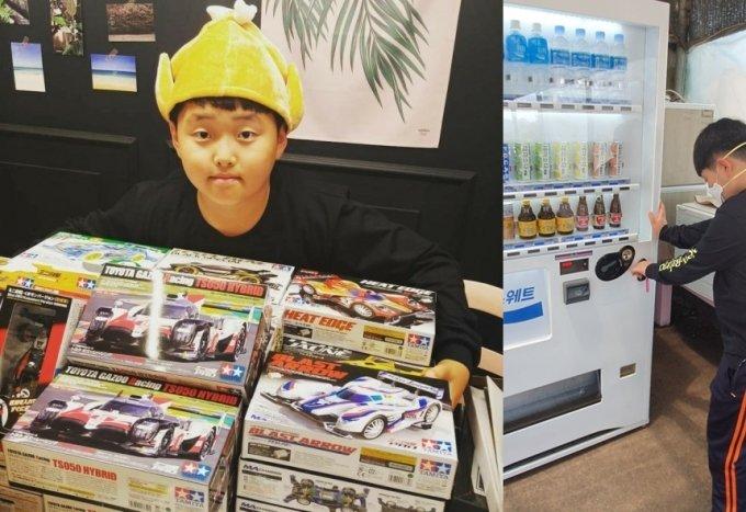 권준군이 미니카 장사를 하는 모습과 자판기에 음료수를 채워놓고 있는 모습 /사진=이은주씨 제공
