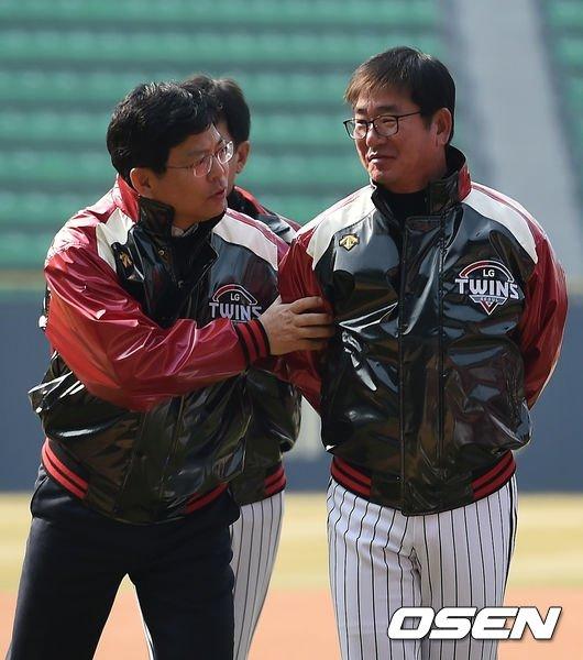 양상문(왼쪽), 류중일 전 감독.