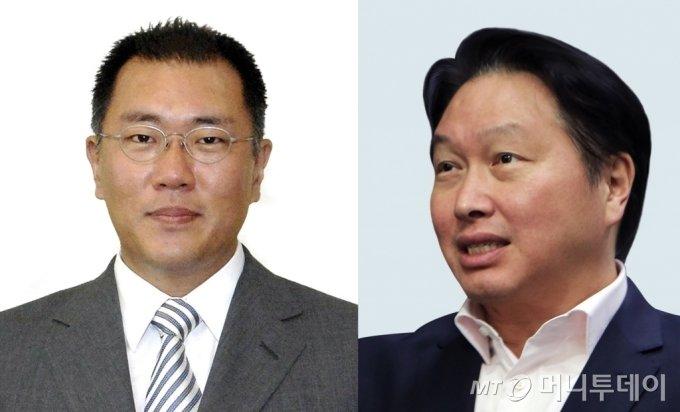 정의선 현대차그룹 회장과 최태원 SK그룹 회장