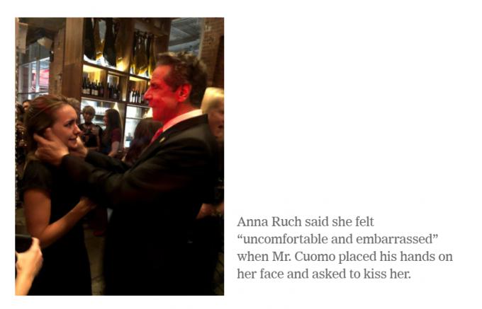 앤드루 쿠오모 뉴욕주지사가 2019년 한 결혼식장에서 애나 러치의 뺨에 손을 갖다댄 모습/사진=뉴욕타임스 홈페이지 화면캡처