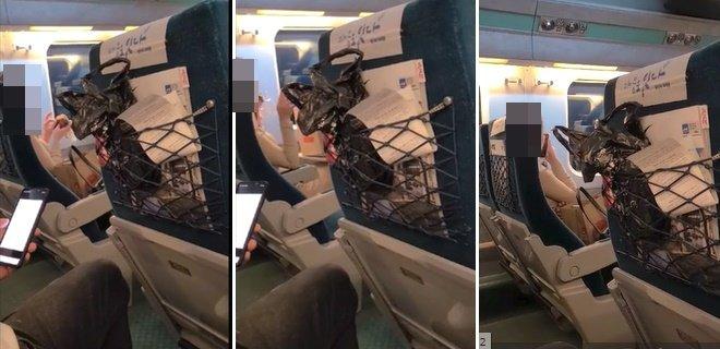 KTX 객실 내에서 음식물을 섭취하고 있는 한 승객./사진=온라인 커뮤니티 영상 캡처