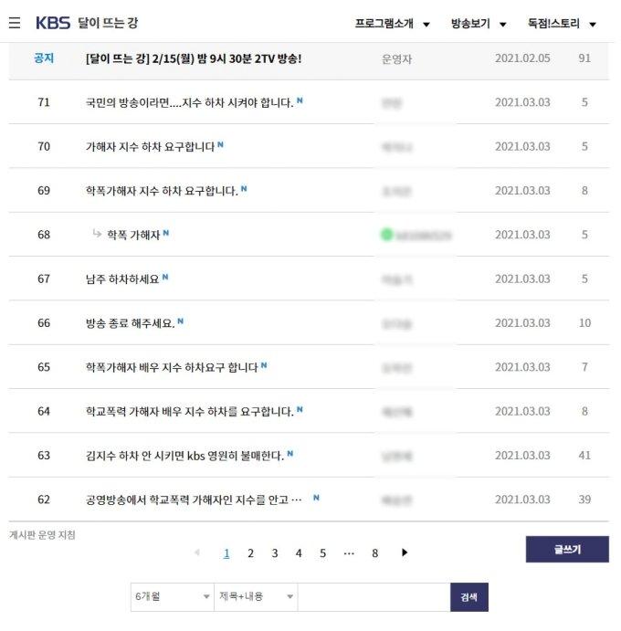 KBS2 '달이 뜨는 강' 시청자 게시판