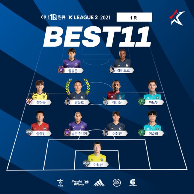 1라운드 K리그2 베스트 11.  /사진=한국프로축구연맹