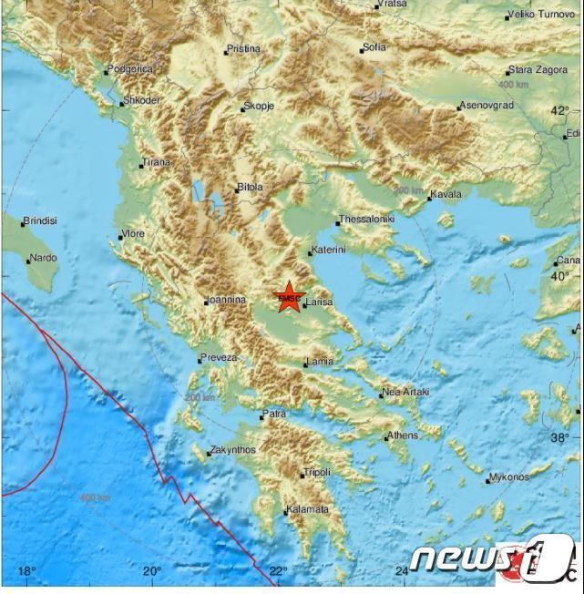 유럽지중해지진센터(EMSC) 지도 갈무리. © 뉴스1