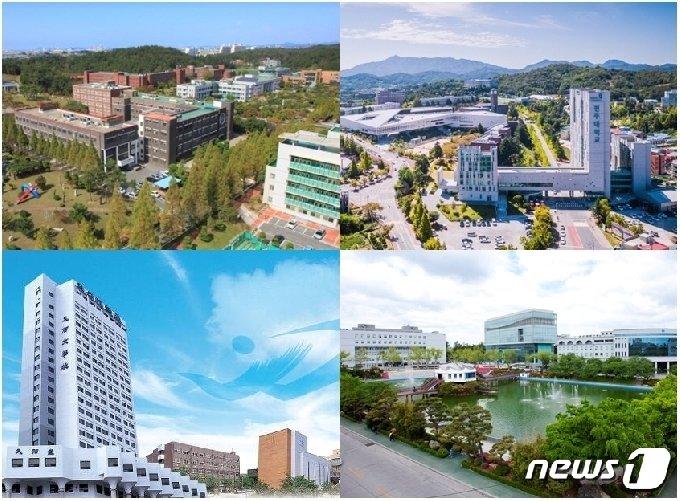 학령인구 감소 속에서도 99% 이상의 신입생 충원률을 기록해왔던 전북지역 주요대학들에서 올해 미달사태가 속출했다. 왼쪽부터 시계방향으로 군산대, 전주대, 원광대, 우석대 전경 모습.© 뉴스1