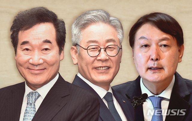 (왼쪽부터) 이낙연 더불어민주당 대표, 이재명 경기지사, 윤석열 검찰총장./사진제공=뉴시스