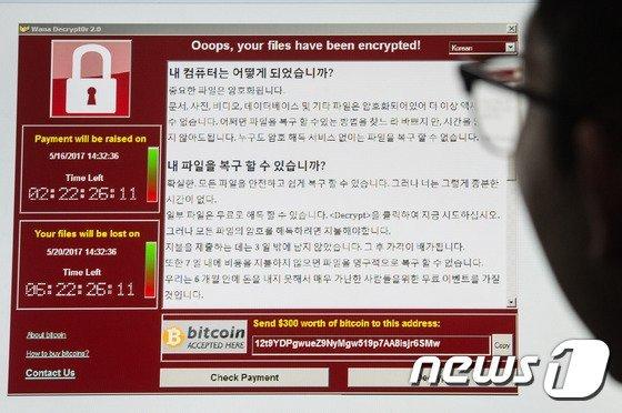 랜섬웨어 '워너크라이'에 감염된 컴퓨터 화면 /사진 = 뉴스1