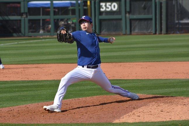 텍사스 양현종이 8일(한국시간) LA 다저스를 상대로 투구를 하고 있다.  /서프라이즈(미국 애리조나주)=이상희 통신원
