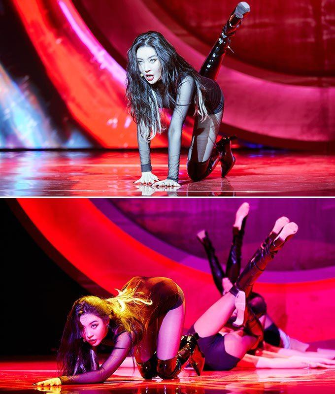 가수 선미가 지난달 23일 선보인 신곡 '꼬리' 쇼케이스 무대/사진제공=어비스컴퍼니