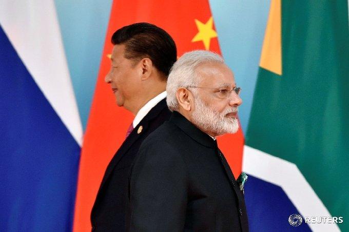 시진핑 중국 국가주석(왼쪽)과 나렌드라 모디 인도 총리. © 로이터=뉴스1 © News1 우동명 기자