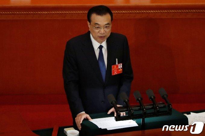 리커창 중국 총리가 22일 인민대회당에서 열린 전인대 개막식에서 연설을 하고 있다. © 로이터=뉴스1 © News1 박형기 기자