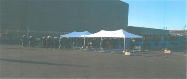 울산항운노동조합이 농성용 텐트를 이용해 부두를 봉쇄한 모습/사진=공정거래위원회