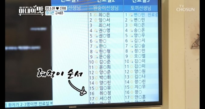 2020년 10월 27일 방송된 TV조선 '아내의 맛' 방송에서 함소원 진화 부부의 딸이 병원을 방문했을 때 대기자 명단. /사진='아내의 맛'  캡처
