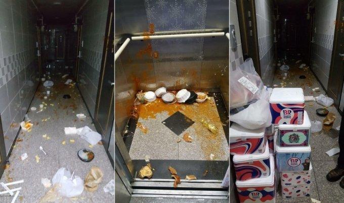 천안의 한 원룸 건물 입주민이 건물 내부에 배달음식을 투척했다. /사진=페이스북 페이지 '천안 대신전해드립니다'