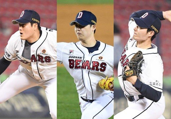 개막 후 팀이 치른 3경기에 모두 등판한 두산 김강률-박치국-이승진(왼쪽부터). /사진=OSEN