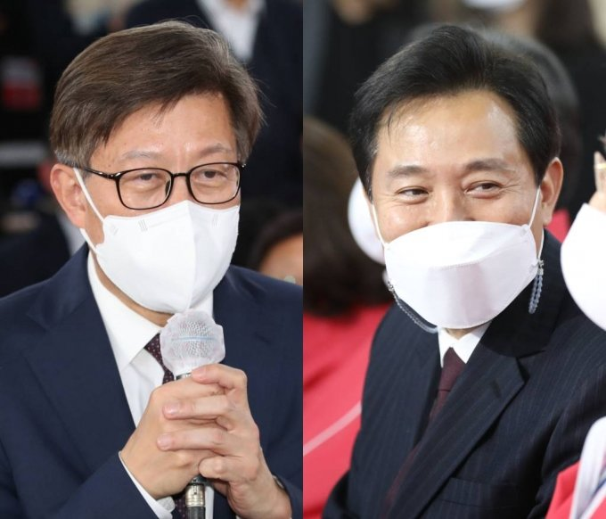 오세훈(오른쪽) 서울시장과  박형준 부산시장/사진=공동취재사진,뉴시스