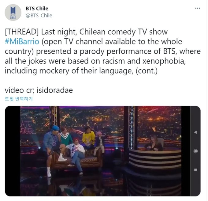 /사진=방탄소년단 칠레 팬덤 트위터