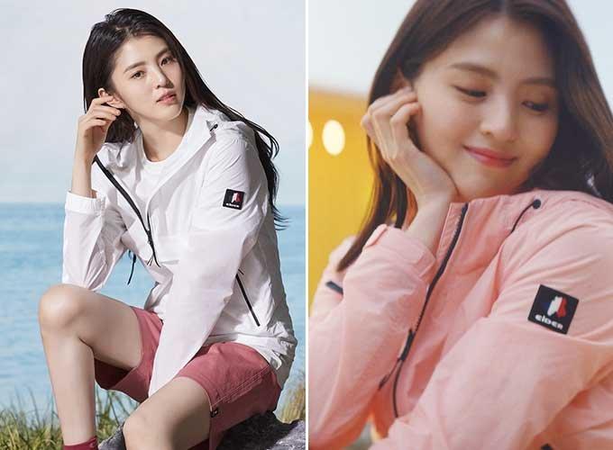 배우 한소희 화보와 '투어링 웨어' CF 화면 캡처/사진제공=아이더
