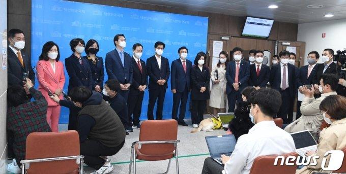 국민의힘 초선 의원들. 2021.4.8./사진제공=뉴스1