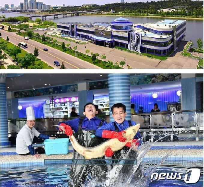 대외용 월간지 '조선'이 소개한 대동강수산물식당.('조선' 갈무리)© 뉴스1