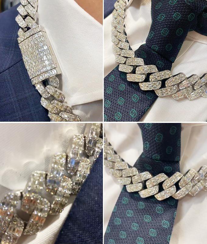 할리우드 스타 킴 카다시안이 주문 제작한 다이아몬드 체인 목걸이의 모습./사진=제이 페더 공식 인스타그램