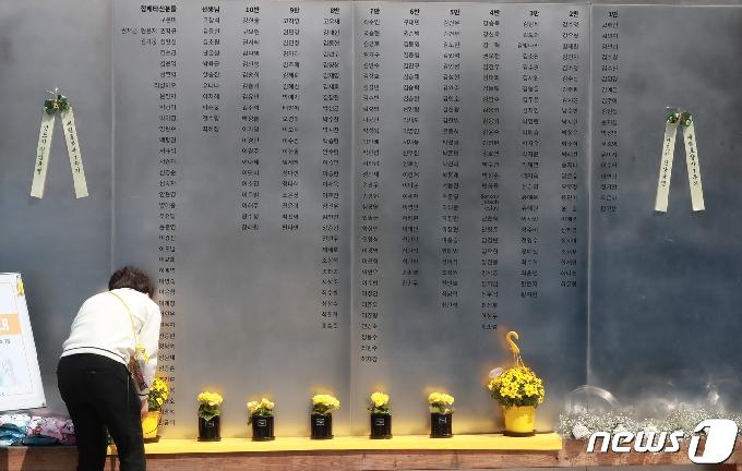 [사진] '세월호 희생자 명단 앞에서'