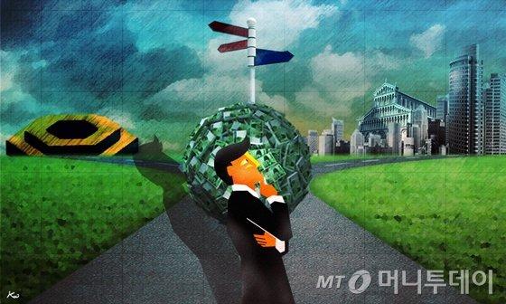 삽화_tom_주식_투자_부동산_증시_목돈_갈림길 /사진=김현정디자이너