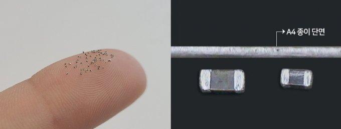 손가락 위에 올린 MLCC의 모습(왼쪽)과 A4 종이 단면과 비교한 MLCC 크기(오른쪽). /사진제공=삼성전기