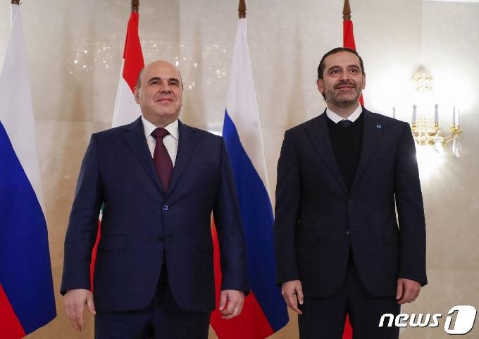 [사진] 포즈 취하는 미슈스틴 총리와 하리리 레바논 총리