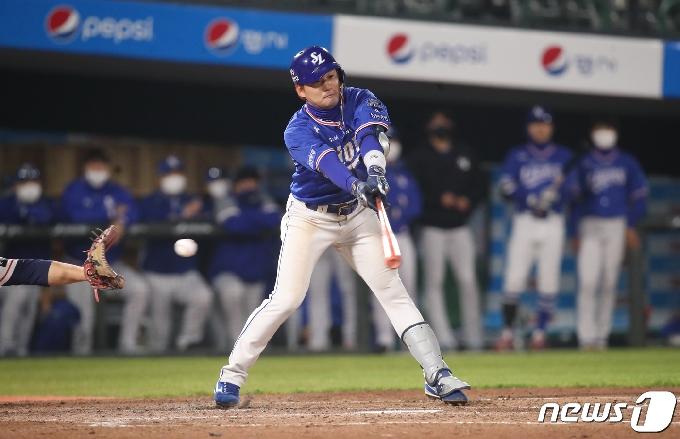 [사진] 삼성 김상수 '삼진으로 날아간 득점 찬스'