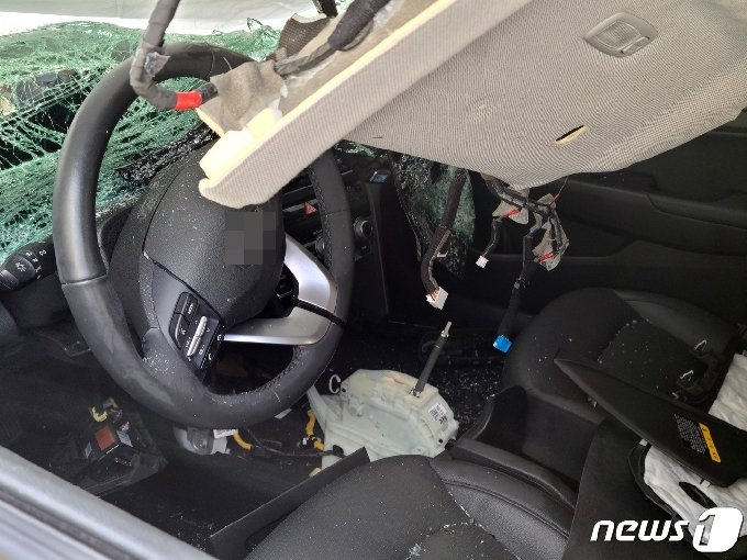 학생들이 탄 차량 내부.© 뉴스1