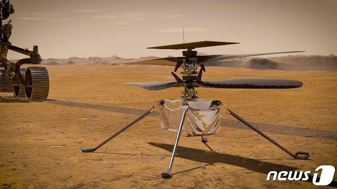 화성 탐사선에 탑재된 퍼시비어런스 로버 소형 헬리콥터가 4월 초 역사적인 화성 비행을 시작한다 © AFP=뉴스1 © News1 원태성 기자