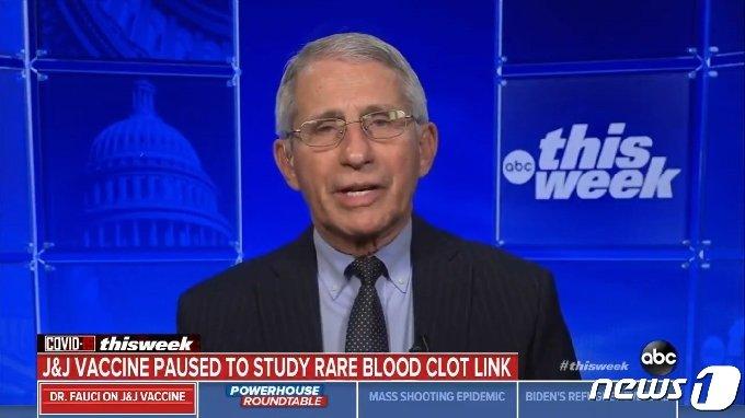 앤서니 파우치 미국 국립알레르기전염병연구소 소장이 18일(현지시간) ABC 방송에 출연한 모습. ABC 방송 온라인 보도 화면 갈무리.