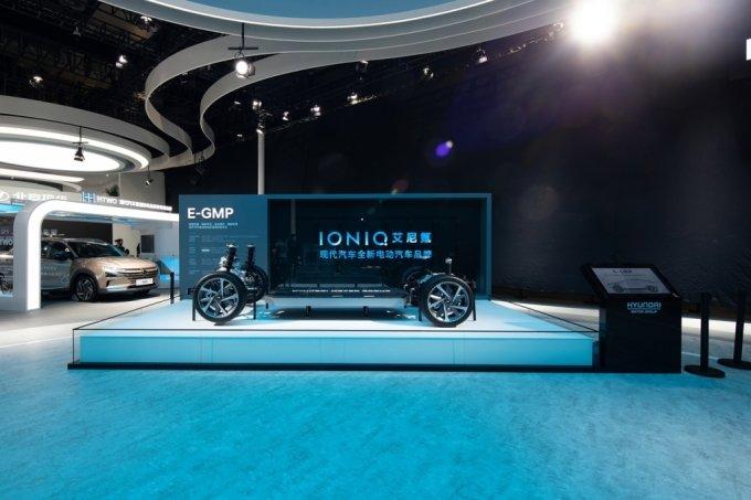 상하이 모터쇼에 전시된 현대차 E-GMP /사진제공=현대자동차