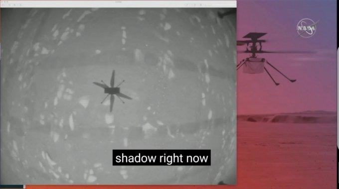 인제뉴어티가 비행 중 촬영한 동체의 그림자. /사진=NASA