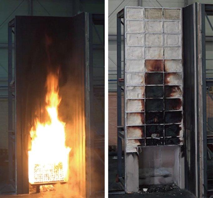 세이프폼의 건축물 외부 마감 시스템 화재 성능 시험 장면. /사진=경동원