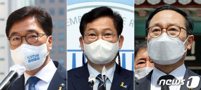 우원식·송영길·홍영표 더불어민주당 의원(왼쪽부터)이 15일 당대표 출마를 선언 후 활동을 시작했다./사진=뉴스1