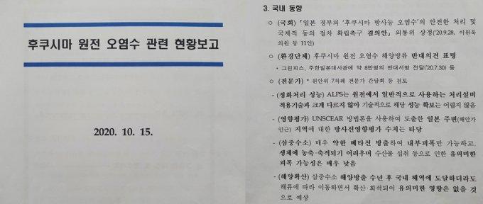 관계부처 합동 TF, 후쿠시마 원전 오염수 관련 현황보고(2020.10.15). /자료=안병길 의원실