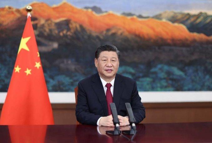 [베이징=신화/뉴시스]시진핑 중국 국가주석이 20일 베이징에서 영상을 통해 하이난에서 개막한 보아오포럼(BFA) 연차총회 기조연설을 하고 있다. 2021.04.20.