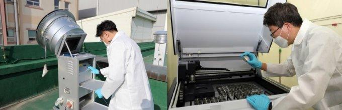 미세먼지 측정소에서 미세먼지를 포집해 시료를 분석하는 모습. /사진=한국원자력연구원