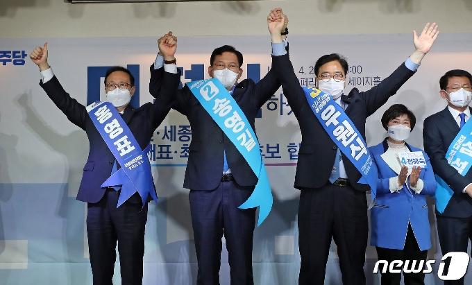 [사진] 대전 찾은 더불어민주당 대표 후보자들
