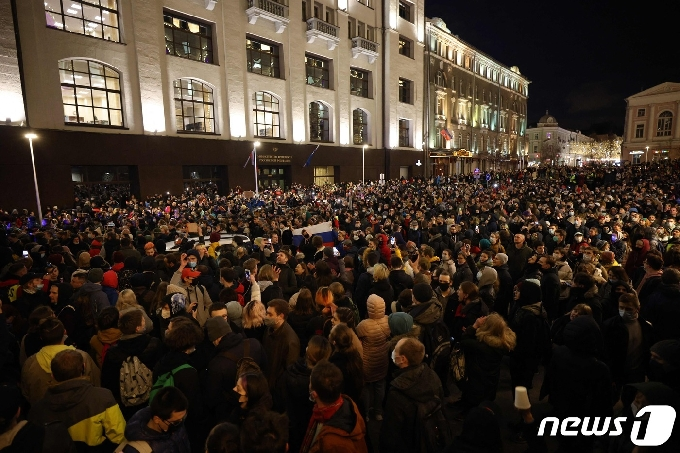 [사진] 야권 운동가 나발니 석방 촉구 러 대규모 시위대