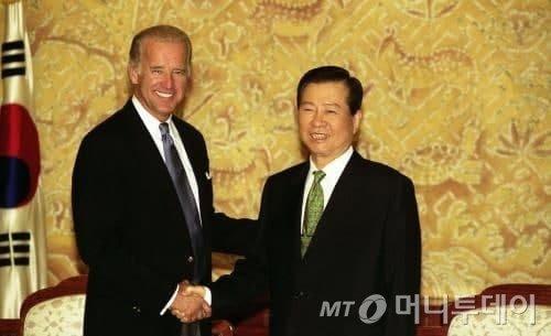 조 바이든 민주당 후보와 김대중 전 대통령/사진=국가기록사진