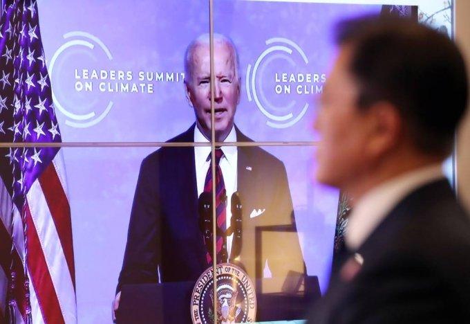 [서울=뉴시스]박영태 기자 = 조 바이든 미국 대통령이 22일 화상으로 열린 기후정상회의에 참석해 모두발언을 하고 있다. 2021.04.22. since1999@newsis.com