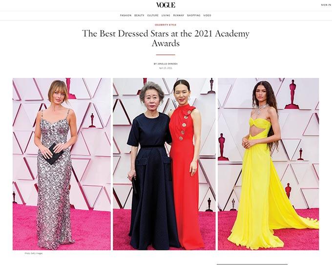 '보그'가 꼽은 2021 아카데미 시상식 베스트 드레서/사진=미국 패션 매거진 '보그' 홈페이지 캡처
