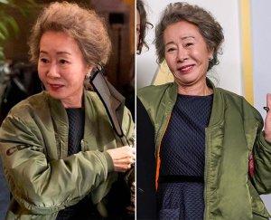 윤여정, 드레스 위 항공점퍼 '툭'…누리꾼들