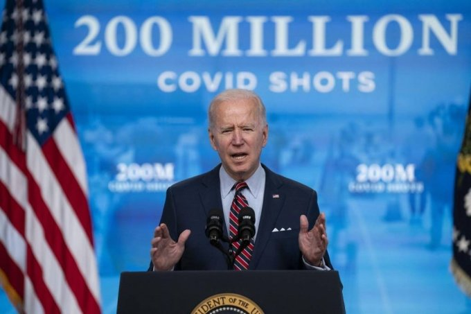 조 바이든 미국 대통령이 21일(현지시간) 백악관에서 코로나19 백신과 관련해 연설하고 있다. /AP=뉴시스