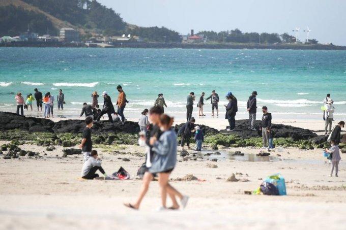 코로나19 확산세가 전국적으로 이어지고 있는 지난 25일 오후 제주시 한림읍 협재해수욕장을 찾은 관광객들이 푸른 바다를 감상하며 잠시 여유를 즐기고 있다. /사진=뉴시스