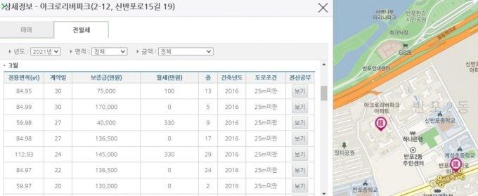 국토부 실거래가 공개사이트, 서울 서초구 아크로리버파크 전월세 정보